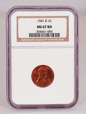 Click now to see the BUY IT NOW Price! 1941 D LINCOLN CENT GRADED MS 67 RED BY NGC