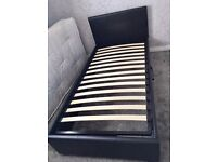 Leather single storage bed & mattress (can sell seperate)