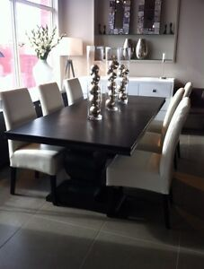 Beautiful wood table and leather chairs
