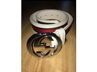Gucci silver buckle belt