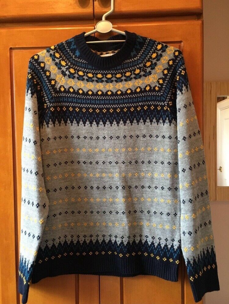 Topman Grey and Blue Knitted Christmas Jumper
