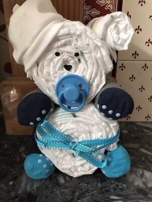 Baby Nappy Cake Gift - Bear - For A Baby Boy- Baby Shower Ideas