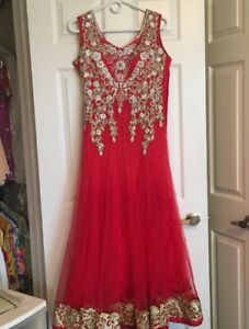 Stunning Dark Pink Gown with Lace & Rhinestones
