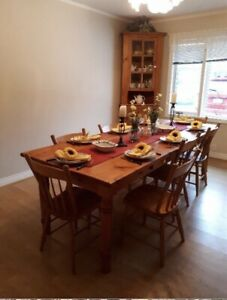 Solid Wood Dining Table 8 Chairs