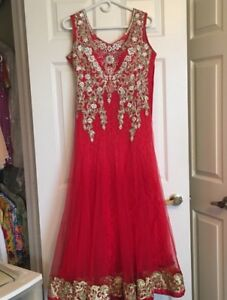 Stunning Dark Pink Gown with Lace and Rhinestones