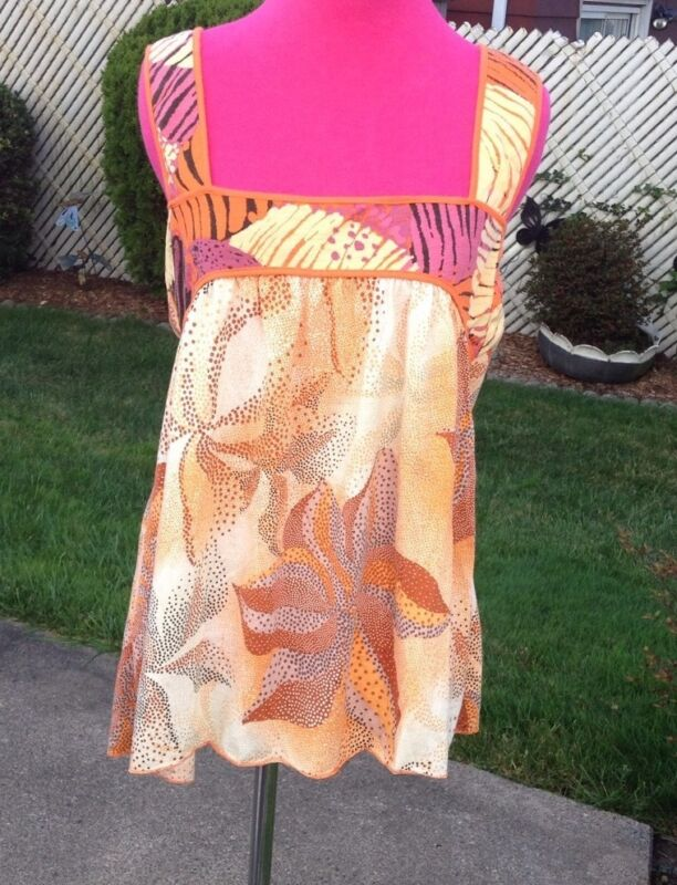 **SALE**LUCCA COUTURE ABSTRACT PRINT FLOWY SLEEVELESS TOP-LRG-ANIMAL CHARITY!