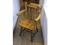 Solid pine chairs X 3. Seating, wooden furniture