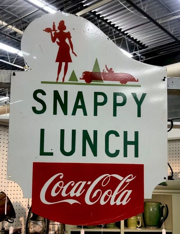 "SNAPPY LUNCH SIGN 24"" x 32""  Single sided ,Heavy Porcelain , Mt Airy NC Rare !"