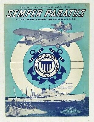 Semper Paratus Sheet Music 1938 Official U.S. Coast Guard March Song