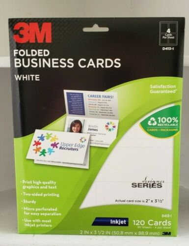 3M Folded Business Cards D413-I Inkjet Printer 30 Perforated Sheet 120 Cards New