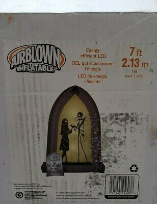 Gemmy 7ft Nightmare Before Christmas Jack & Sally LED Arch Inflatable