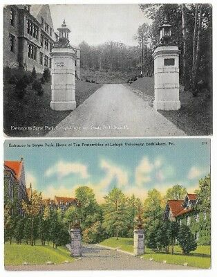 2 Vntge Postcards Lehigh University,Bethlehem:Entrance Sayre Park Fraternities