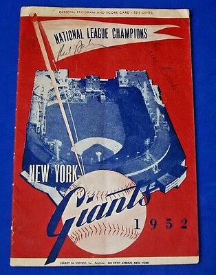 1952 NY GIANTS EARLE COMBS & RED BARBER SIGNED PROGRAM SCORECARD JSA LOA Y41216