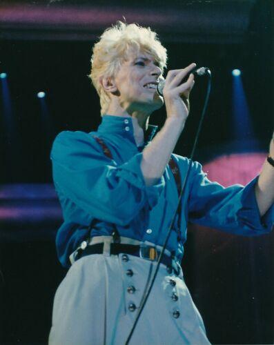 DAVID BOWIE Original CANDID Singing Stage Live Concert Vintage 1980s COLOR Photo