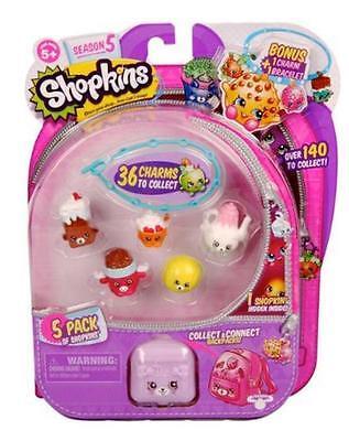 Shopkins Season 5  1 Pkg Includes 5 Shopkins 1 Backpack 1 Bonus Charm   Bracelet