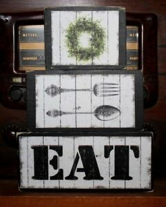 Country Primitive EAT Kitchen Decor Rustic Stacking Blocks Wooden Sign Set