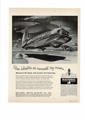 Vintage 1951 National Oil And Fluid Seals Helicopter Sky Cruisers Ad Print