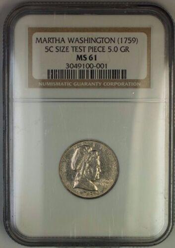 1985 Nickel Pattern Martha Washington (1759) Virginia Ngc Ms-61 J-2182 Judd Ww
