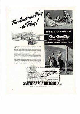 Vintage 1939 American Airlines Sun Country Texas Arizona California Ad Print