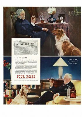 VINTAGE 1937 FOUR ROSES WHISKEY MAN WITH COLLIE MAN WITH BIRD DOG AD PRINT B443