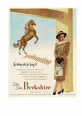 VINTAGE 1947 PALOMINO HORSE COLOR SHEER STOCKING HOSIERY LADY BERKSHIRE AD PRINT