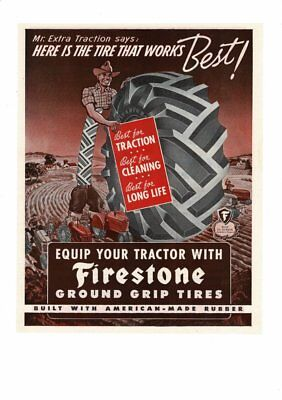 VINTAGE OLD FIRESTONE RUBBER TRACTOR TIRES MR. EXTRA TRACTION FARM AD PRINT B539