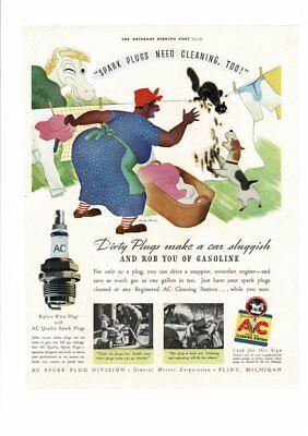 Vintage 1938 Ac Spark Plugs Clean Clothes Cat Dog General Motors Ad Print