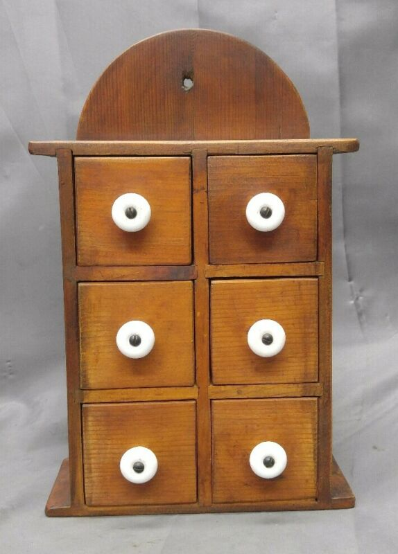 Vintage Handmade Wooden Six Drawer Spice Chest Country North Stream
