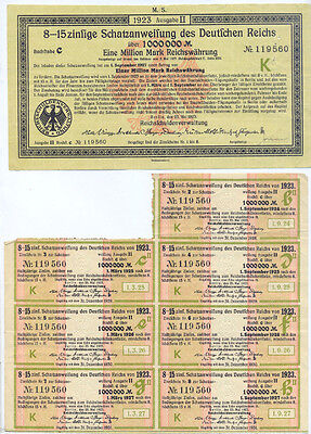 Berlin Deutsche Reich Schatzanweisung 1 Million Mark 1923 uncancelled bond