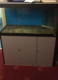 Fluval Roma 200 marine aquarium with sump tank, light, stand and internal weir box