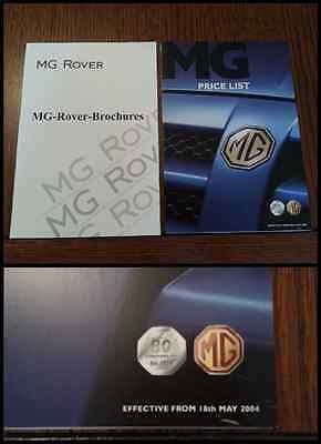 MG Range 2004 Brochure Price List ZR ZS ZT ZT-T TF Express Anniversary 6187 NEW