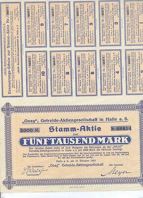 Halle Saale Geag Getreide-AG Stamm-Aktie über 1000 Mark 1923 uncancelled