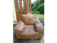 Tan Leather DFS Armchair - FREE TO COLLECTOR