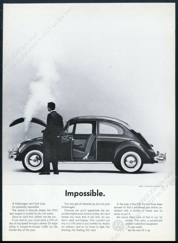 1961 VW Beetle classic car Impossible photo vintage print ad