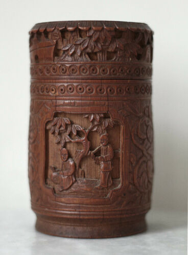 SUPERB dated 1873 Chinese carved bamboo tea caddy, China