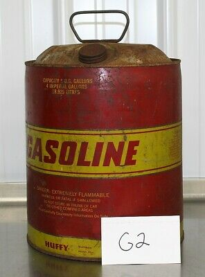 Vintage 5 Gallon Steel Gas Can Huffy With Vent Flexible Spout Fuel G2
