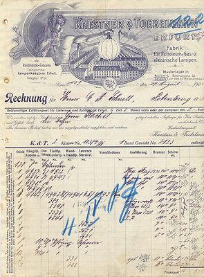 Erfurt alte Rechnung Fa. Kaestner und Toebelmann 1906 Litho