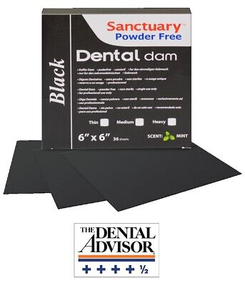 Black Sanctuary Latex Dental Dam Rubber 6x6 Medium Mint 36pk Sheet Wholesale