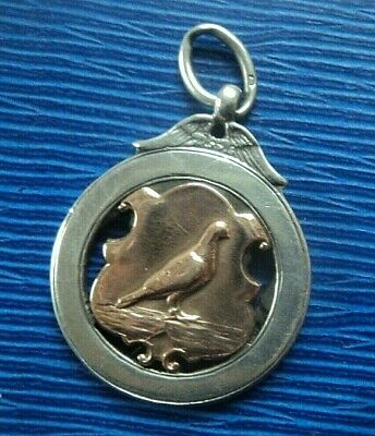 Vintage Sterling Silver & Gold PIGEON Fob Medal or Pendant h/m 1925 Birmingham