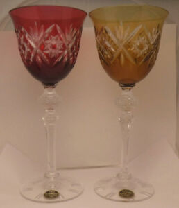 Pair Echt Bleikristall Crystal German Cranberry & Amber Cased Wine Glass Hocks