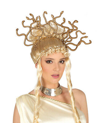 Snake Headband Medusa Greek Goddess Halloween Fancy Dress Gold Snakes Headdress