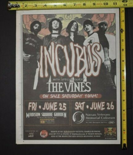 Incubus 2004 Color Concert Ad W/The Vines MSG/Nassau Coliseum NYC