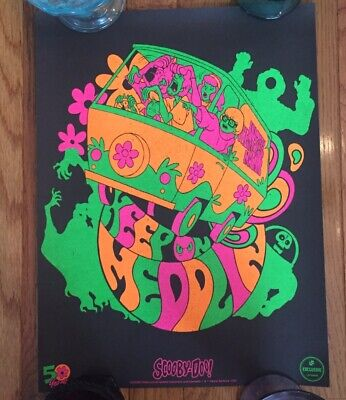 Loot Crate Exclusive Scooby Doo 50th Anniversary Psychedelic Blacklight Poster