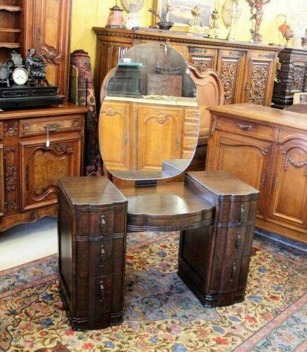 English Antique Dark Oak Art Deco  Dresser / Vanity   Bedroom Furniture