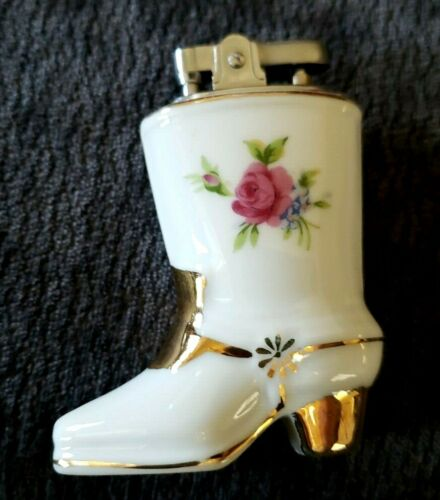 VINTAGE Porcelain Cowboy Boot Pink Rose Table Lighter Japan great condition