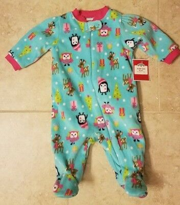 New Baby Girl Holiday Fleece Sleeper Penguin Owls Reindeers Pajamas Sz 0-3months