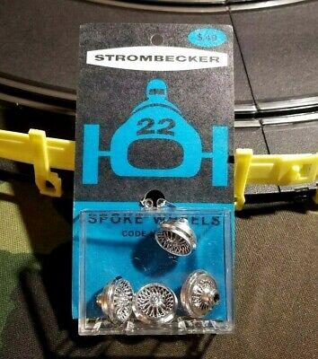 Pack of (4) NOS Vintage Strombecker Slot Car Chrome Wire Wheels #9052
