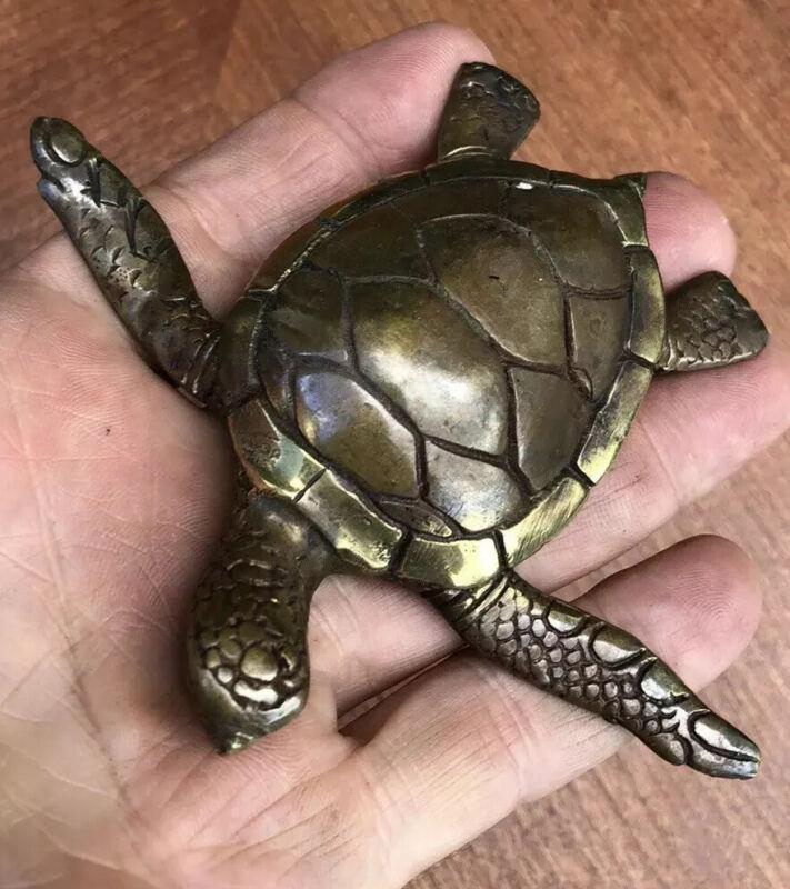Sea Turtle Temple Tattoo Borneo  Statue Vintage Patina Grade A Bronze 100%