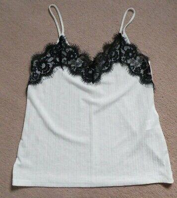 BNWT Zara Trafaluc cami vest top white black lace size M 10 12 strappy summer
