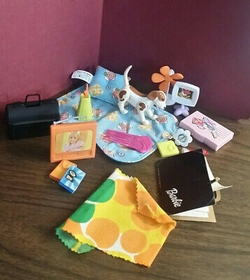 1990s Barbie / Dollhouse Miniature Accessories Lot Dog, TV, Doctor Bag, Decor...